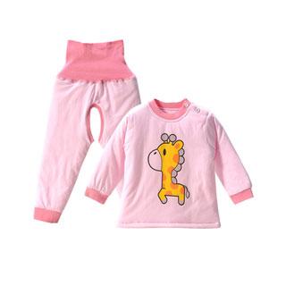婴儿高腰护肚裤夹棉套装