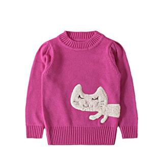 有机棉质女童套头针织衫