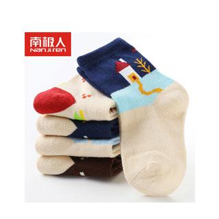 南極人秋冬純棉兒童襪5雙