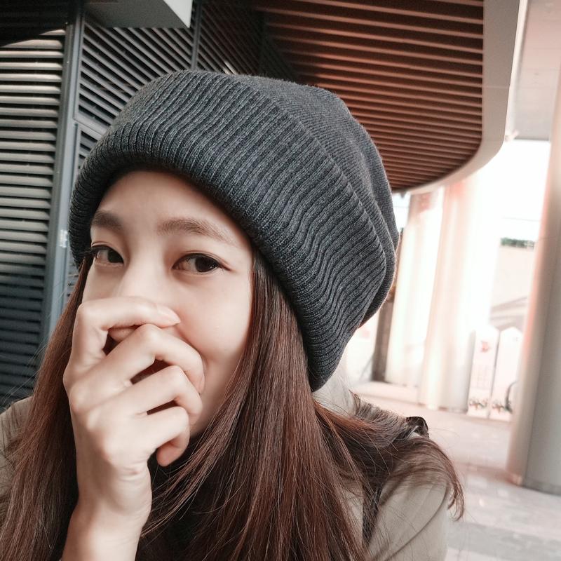秋冬天簡約純色針織帽