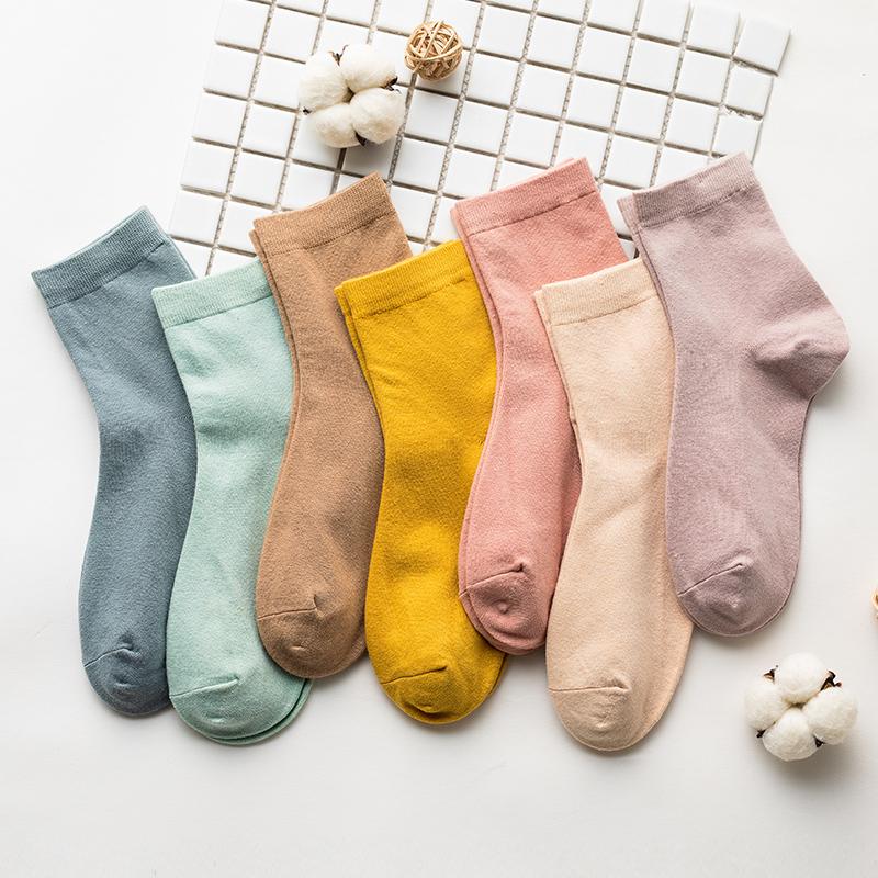 日系純色長筒襪棉襪7雙
