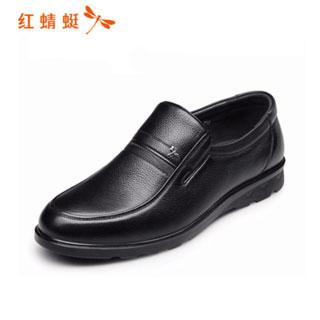 紅蜻蜓中老年商務休閑皮鞋
