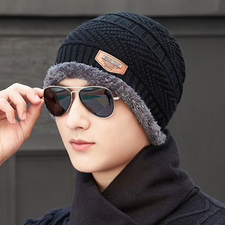 加绒加厚针织帽毛线帽