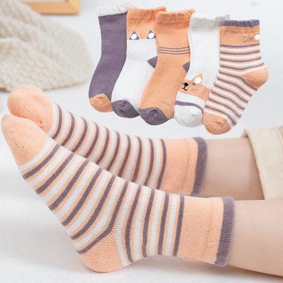 秋冬儿童纯棉袜子5双装
