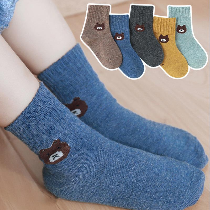 秋冬季纯棉薄款儿童袜子5双