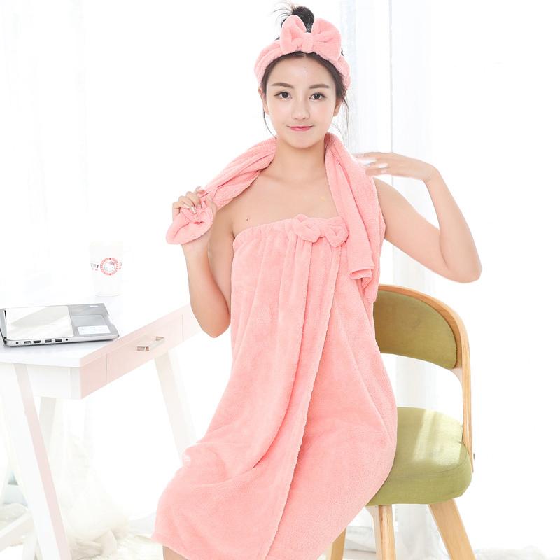 家用浴裙女裹胸吸水速干套装