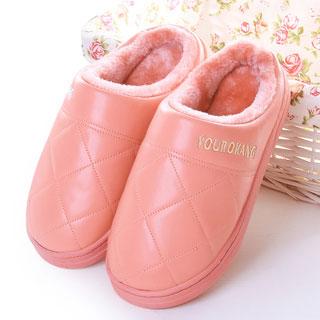 情侶pu皮質半包跟棉拖鞋