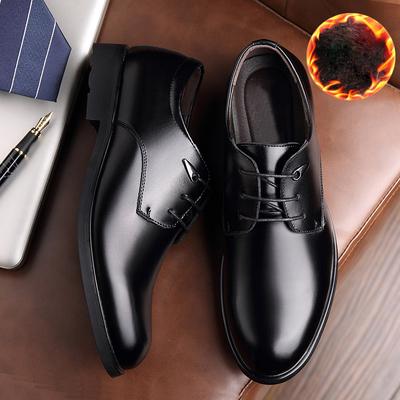 商務休閑男士透氣加絨皮鞋