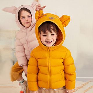 儿童小猪款连帽轻薄羽绒服