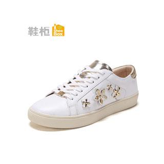 达芙妮旗下珠花单鞋小白鞋