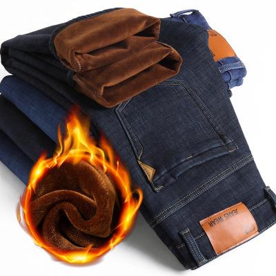 男士加絨加厚牛仔褲
