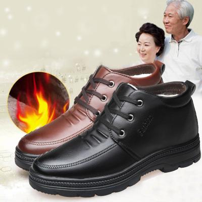 冬季加絨保暖軟底皮鞋