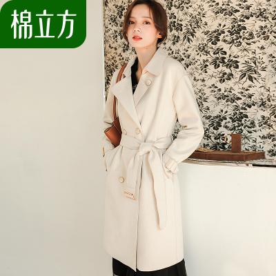 韩版双排扣系带显瘦呢子大衣