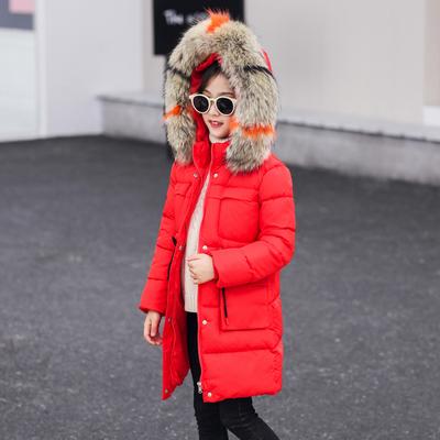 韓版兒童中長款羽絨棉服