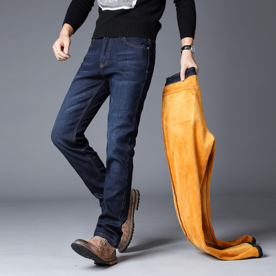 弹力加绒加厚牛仔裤