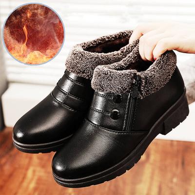 媽媽鞋加絨平底防滑皮鞋