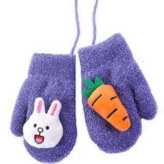 儿童加绒加厚针织羊羔绒手套