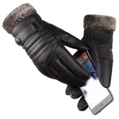 加絨加厚皮手套