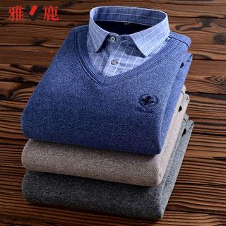 yaloo/雅鹿假兩件襯衫毛衣
