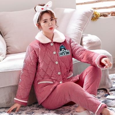 三層加厚法蘭絨睡衣套裝