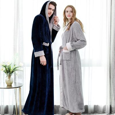 法蘭絨加厚加長浴袍
