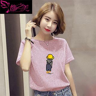 韩版显瘦印花亮丝T恤