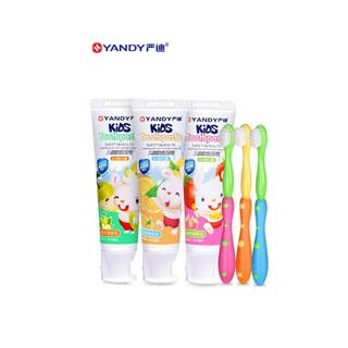 儿童牙膏3支+3支牙刷