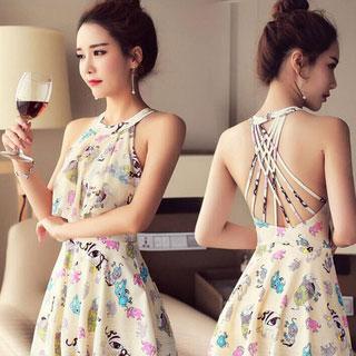 韩国性感裙式连体遮肚泳衣