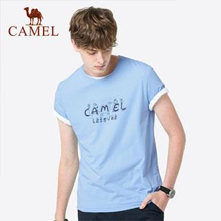 骆驼纯色透气休闲短袖T恤