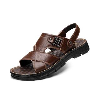 男士?#25509;?#30495;皮凉鞋