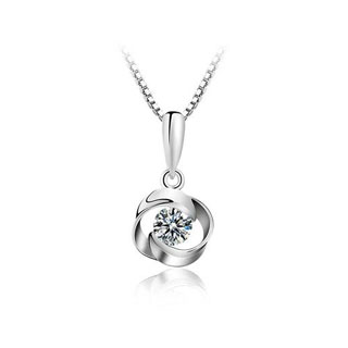 真银玫瑰花型镶钻吊坠项链