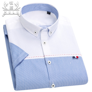 100%纯棉男士休闲短袖衬衫