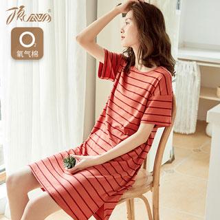睡衣女夏季薄款純棉家居裙