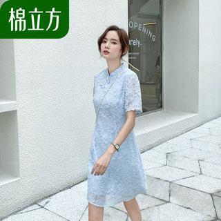 复古绣花旗袍式连衣裙