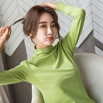新款牛油果绿纯棉长袖T恤