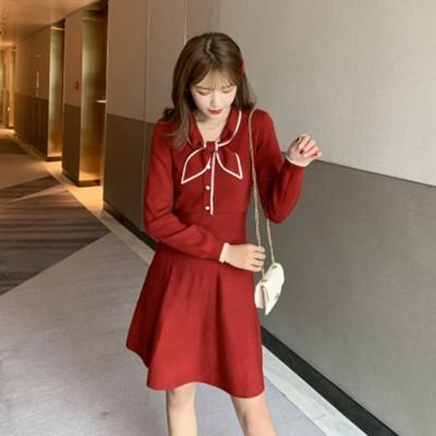 红色连衣裙毛衣裙复古赫本风
