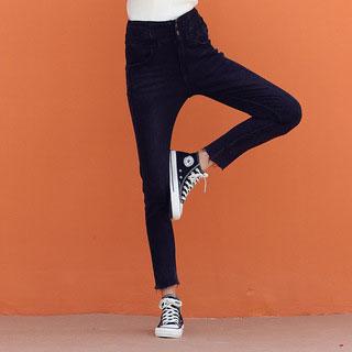 显瘦加绒高腰黑色小脚裤