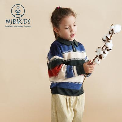 儿童毛衣翻领羊毛衫