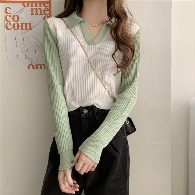 撞色修身慵懒长袖针织衫