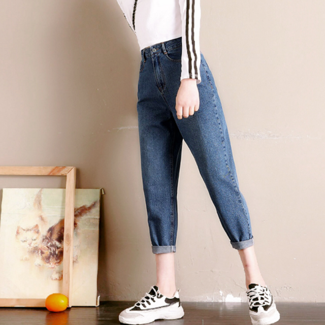 宽松高腰显瘦韩牛仔裤