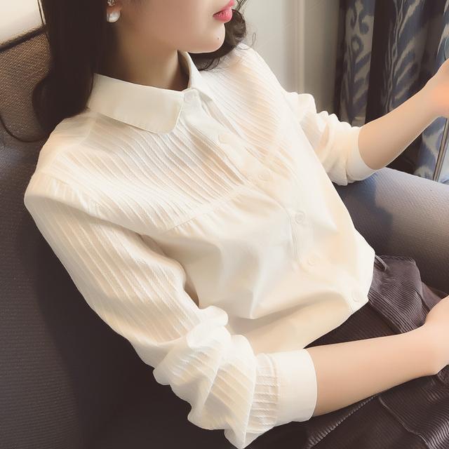 纯棉白色衬衫打底衬衣