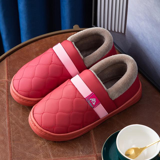 防水棉拖鞋厚底pu皮面棉鞋