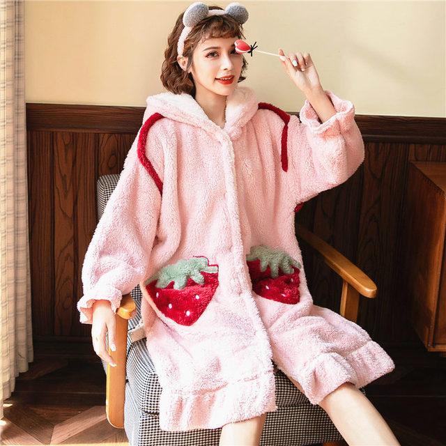 睡袍長款珊瑚絨睡衣