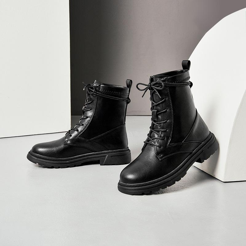系带马丁靴女鞋