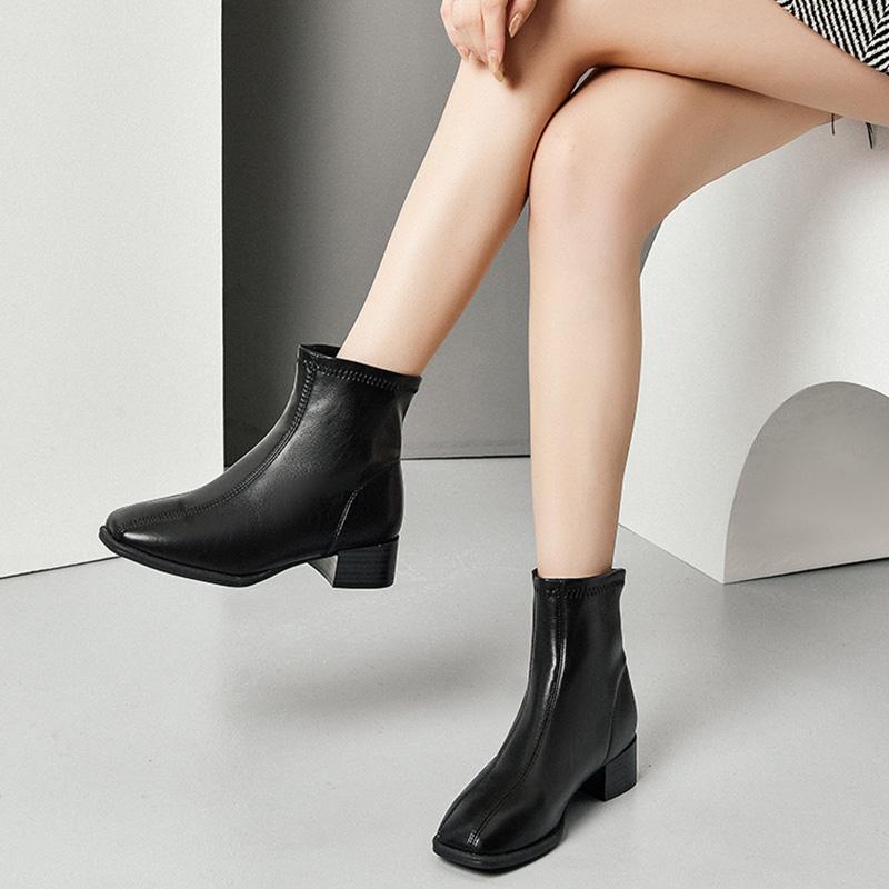 中跟粗跟方头短靴女鞋