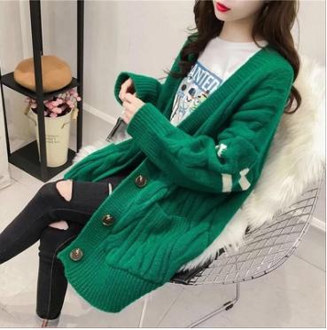 韓版中長款條紋針織衫外套