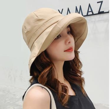 大檐帽子纯色渔夫帽遮阳帽
