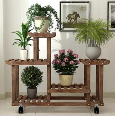 室內多層置物架花架實木質