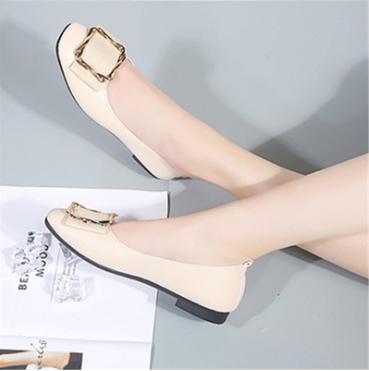 淺口軟底舒適平底方頭單鞋