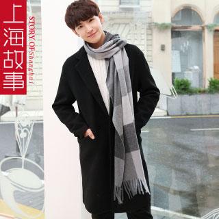上海故事男士格子围巾